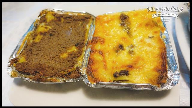 Lasanha bolonhesa e lasanha de mignon aos quatro queijos